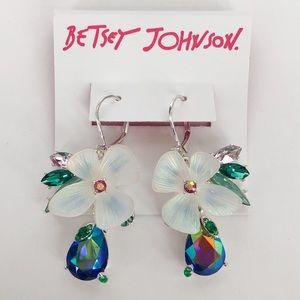 Betsey Johnson Blue & White Floral Earrings